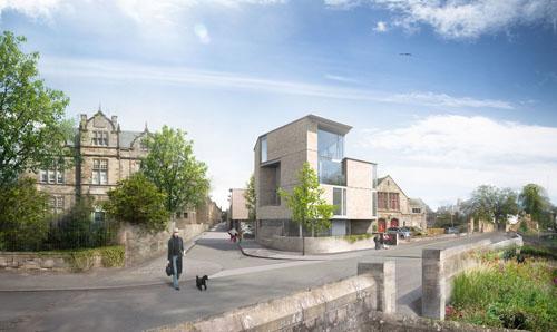 Proyecto residencial en Saint Andrews, Escocia, que plantea el uso de Sandstone (arenisca) como placas de revestimiento en fachada en toda la parte baja del proyecto.