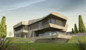 A cero arquitectos proyecta una vivienda unifamiliar con fachada de travertino noce en oviedo - Arquitectos en oviedo ...