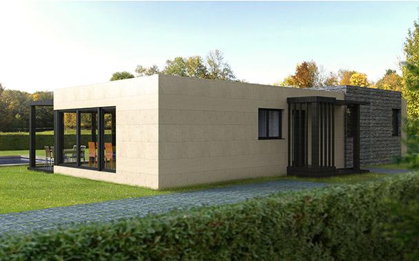 Casas modulares prefabricadas revestidas con m rmol y pizarra for Casas modulares galicia
