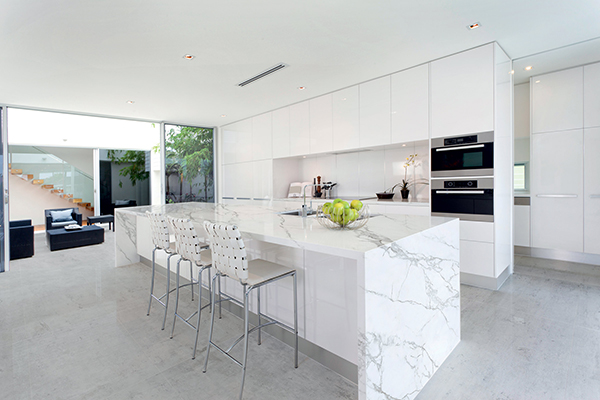 Neolith-polished-calacatta-island-counter-top-waterfall