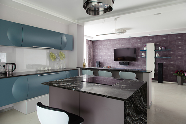 Design solution of open space for modern apartments. Modern design solution studio
