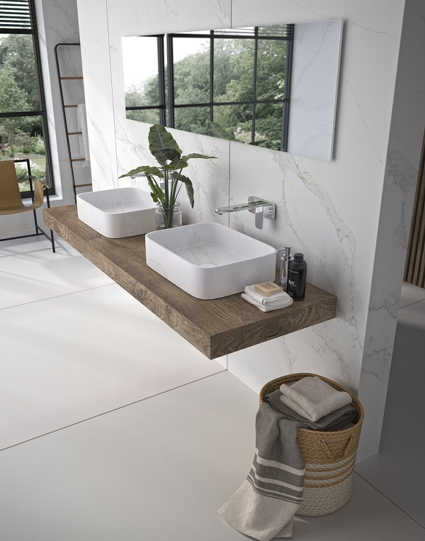 Lavabo Marie by Silestone y revestimiento pared _ Color Silestone Calacatta Gold (2)