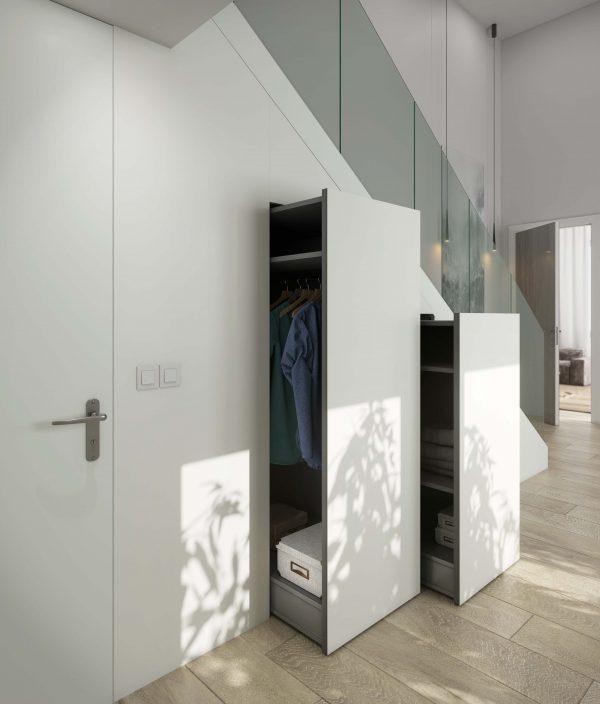 Ambiente escalera armarios Dekton Slim Zenith (lr)